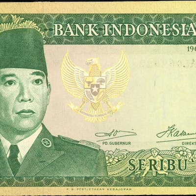 INDONESIA. Bank Indonesia. 1000 Rupiah, 1960. P-88b. About Uncirculated.