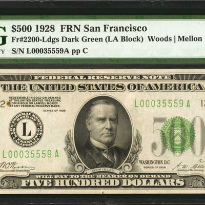 Fr. 2200-Ldgs. 1928 $500 Federal Reserve Note. San Francisco. PMG