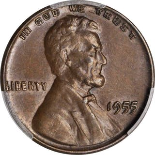 1955 Lincoln Cent. Doubled Die Obverse. AU-55 (PCGS).