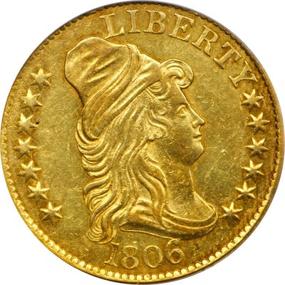 1806 Capped Bust Right Half Eagle. BD-6. Rarity-2. Round-Top 6, Stars