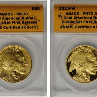 Complete 2015-Dated Two-Coin Set of One-Ounce Gold Buffalos. First