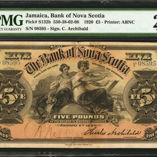 JAMAICA. Bank of Nova Scotia. 5 Pounds, 1920. P-S132b. PMG Very Fine 25.