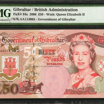 GIBRALTAR. Government of Gibraltar. 50 Pounds, 2006. P-34a. PMG Gem