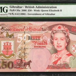 GIBRALTAR. Government of Gibraltar. 50 Pounds, 2006. P-34a. PMG Gem