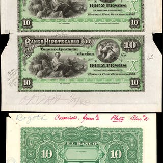 COLOMBIA. Banco Hipotecario. 10 Pesos, 1881. P-S512sp. Proofs. About