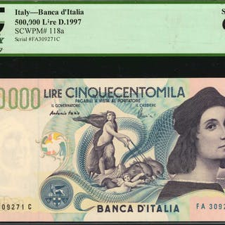 ITALY. Banca d'Italia. 500,000 Lire, 1997. P-118a. PCGS Currency Superb