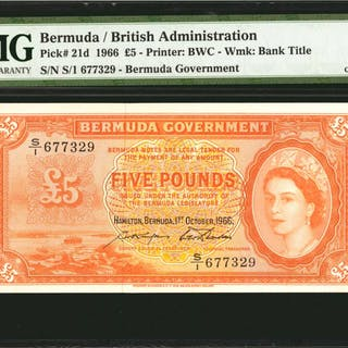 BERMUDA. Bermuda Government. 5 Pounds, 1966. P-21d. PMG Choice Uncirculated 64.