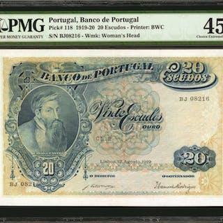 PORTUGAL. Banco de Portugal. 20 Escudos, 1919-20. P-118. PMG Choice