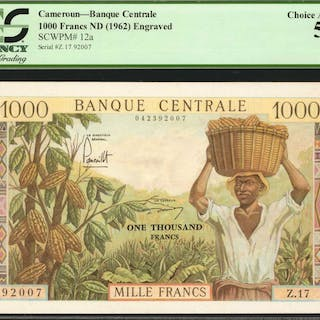 CAMEROON. Banque Centrale. 1000 Francs, ND (1962). P-12a. PCGS Currency