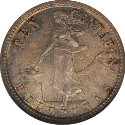 PHILIPPINES. 10 Centavos, 1907-S/S. San Francisco Mint. NGC MS-63.