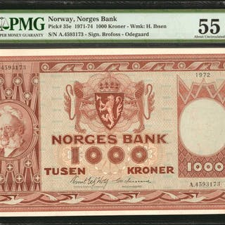 NORWAY. Norges Bank. 1000 Kroner, 1971-74. P-35e. PMG About Uncirculated
