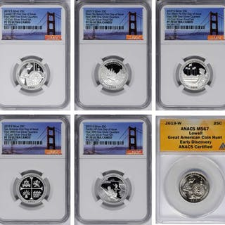 Lot of (6) Certified 2019-Dated America the Beautiful Quarters.