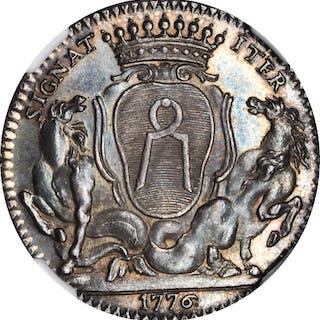 FRANCE. Nantes. Silver Jeton, 1776. NGC MS-62.