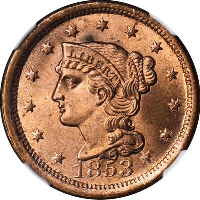 1853 Braided Hair Cent. N-25. Rarity-1. MS-64 RB (NGC).