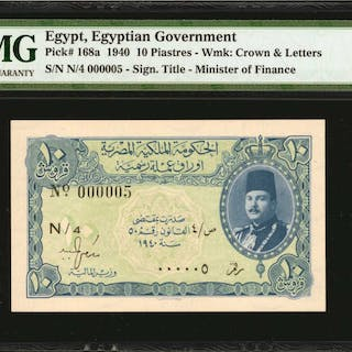 EGYPT. Egyptian Government. 10 Piastres, 1940. P-168a. Serial Number