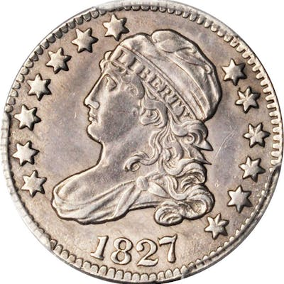 1827 Capped Bust Dime. JR-13. Rarity-3. Pointed Top 1 in 10 C. AU