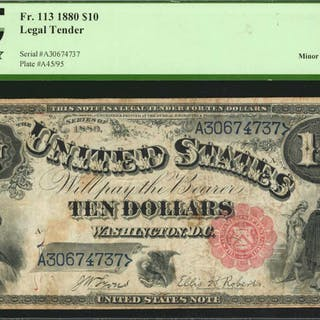 Fr. 113. 1880 $10  Legal Tender Note. PCGS Currency Very Fine 20 Apparent.