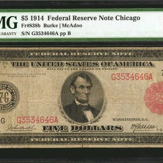 Fr. 838b. 1914 Red Seal $5  Federal Reserve Note. Chicago. PMG Very Fine 20.