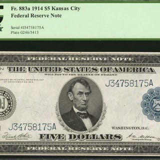 Fr. 883a. 1914 $5  Federal Reserve Note. Kansas City. PCGS Currency