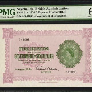 SEYCHELLES. Government of Seychelles. 5 Rupees, 1954. P-11a. PMG Gem