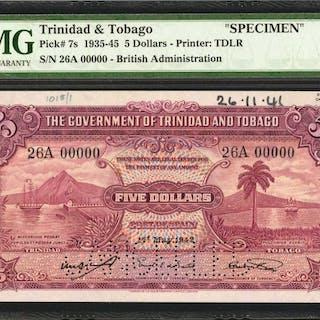 TRINIDAD & TOBAGO. Government of Trinidad & Tobago. 5 Dollars, 1935-45.