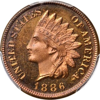 1886 Indian Cent. Type II Obverse. Snow-PR2. Repunched Date. Proof-65