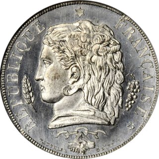 FRANCE. White Metal 10 Centimes Essai (Pattern), 1848. NGC MS-66.