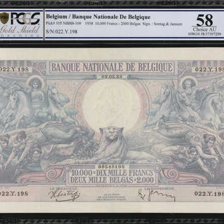BELGIUM. Banque Nationale de Belgique. 10,000 Francs, 1938. P-105.