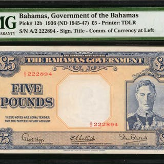 BAHAMAS. Government of Bahamas. 5 Pounds, 1936 (ND 1945-47). P-12b.