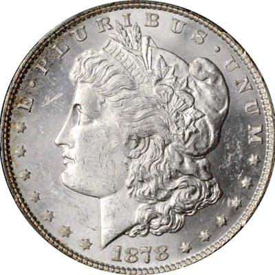 1878 Morgan Silver Dollar. 8 Tailfeathers. MS-62 (PCGS).