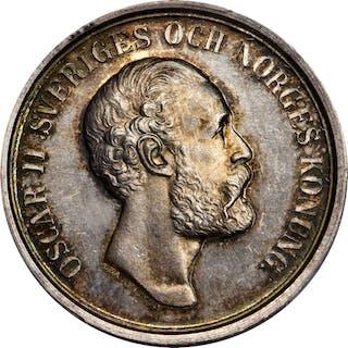 SWEDEN. Silver Shooting Award Medal, 1830 (1892). Oscar II. PCGS SPECIMEN-63