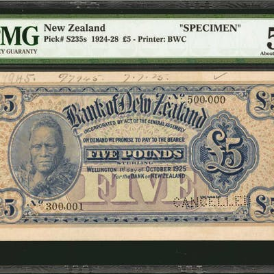 NEW ZEALAND. Bank of New Zealand. 5 Pounds, 1924-28. P-S235s. Specimen.