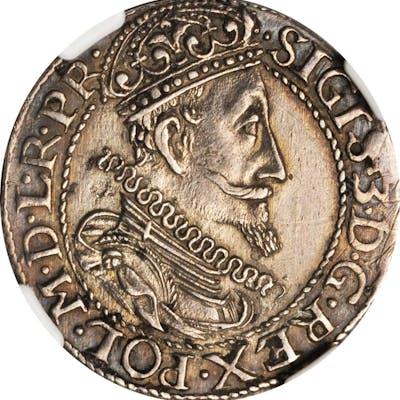 POLAND. DANZIG. 1/4 Taler, 1612. Sigismund III. NGC AU Details--Surface