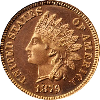 1879 Indian Cent. Snow-PR1. Repunched Date. Proof-66 RD Cameo (PCGS). CAC.