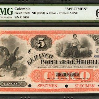 COLOMBIA. Banco Popular De Medellin. 5 Pesos, 18__. P-S772s. Specimen.