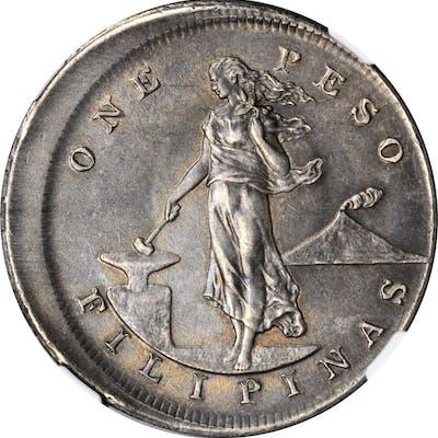 PHILIPPINES. Mint Error -- Off-Center Strike -- Peso, 1903. Philadelphia