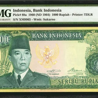 INDONESIA. Bank Indonesia. 1000 Rupiah, 1960 (ND 1964). P-88a. PMG