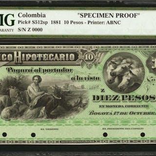 COLOMBIA. Banco Hipotecario. 10 Pesos. October 1, 1881. P-S512s. Specimen.