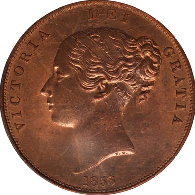 GREAT BRITAIN. Penny, 1858/7. London Mint. Victoria. NGC MS-63 Red Brown.