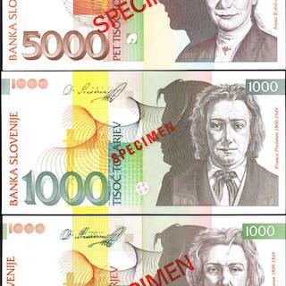 SLOVENIA. Banka Slovenije. 100 to 5000 Tolar, 1992-1993. P-Various.