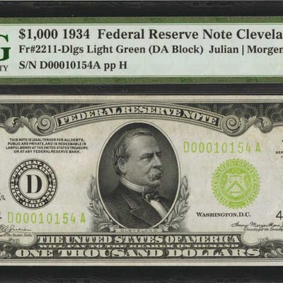 Fr. 2211-Dlgs. 1934 $1000 Federal Reserve Note. Cleveland. PMG Choice