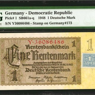 GERMANY. DEMOCRATIC REPUBLIC. Treasury. 1, 5, 10 & 100 Deutsche Mark