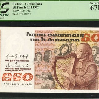 IRELAND. Central Bank. 50 Pounds, 1982. P-74a. PCGS Currency Superb