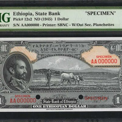 ETHIOPIA. State Bank of Ethiopia. 1 Dollar, ND (1945). P-12s2. Specimen.