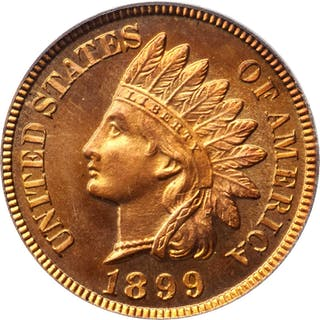 1899 Indian Cent. Snow-PR1. Proof-66 RD Cameo (PCGS).