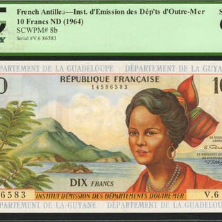 FRENCH ANTILLES. Republique Francaise. 10 Francs, ND (1964). P-8b.