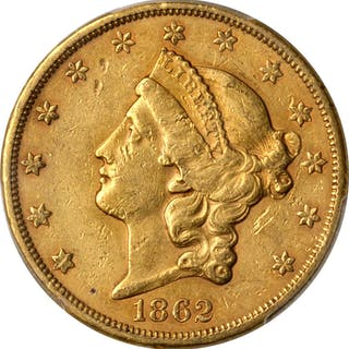 1862-S Liberty Head Double Eagle. AU-55 (PCGS).