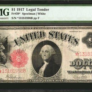 Fr. 39*. 1917 $1  Legal Tender Star Note. PMG Very Fine 20.