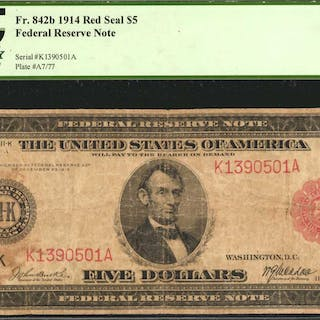 Fr. 842b. 1914 Red Seal $5  Federal Reserve Note. Dallas. PCGS Currency