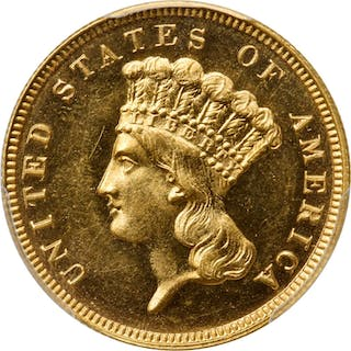 1884 Three-Dollar Gold Piece. JD-1, the only known dies. Rarity-4+.